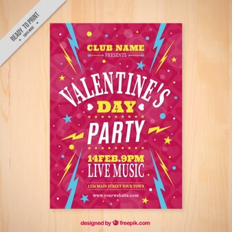 Vintage party valentine's day brochure