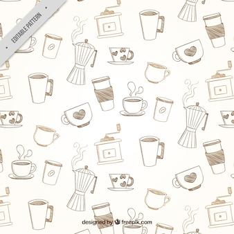 Vintage pattern of coffee accessories