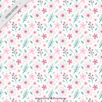 Vintage pattern of flowers and leaves