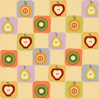 Vintage pattern of hand drawn fruits