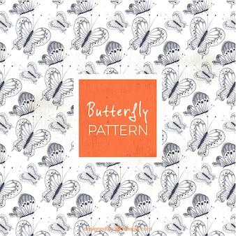Vintage pattern of pretty butterflies