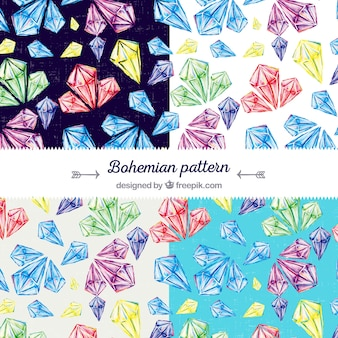 Vintage pattern with colored gems