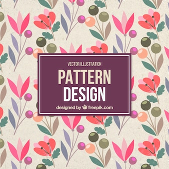 Vintage pattern with different plants