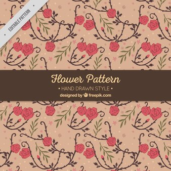 Vintage pattern with hand-drawn flowers