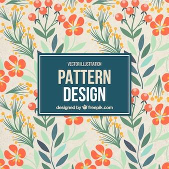 Vintage pattern with orange flowers