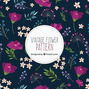 Vintage pattern with purple flowers