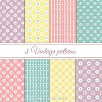 Vintage patterns in pastel colors