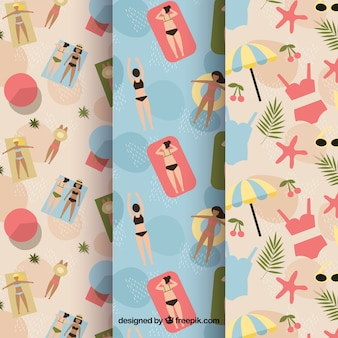 Vintage patterns of people on the beach