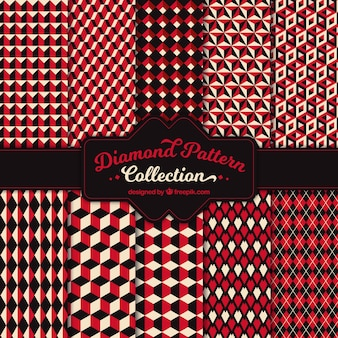 Vintage patterns of red geometric shapes