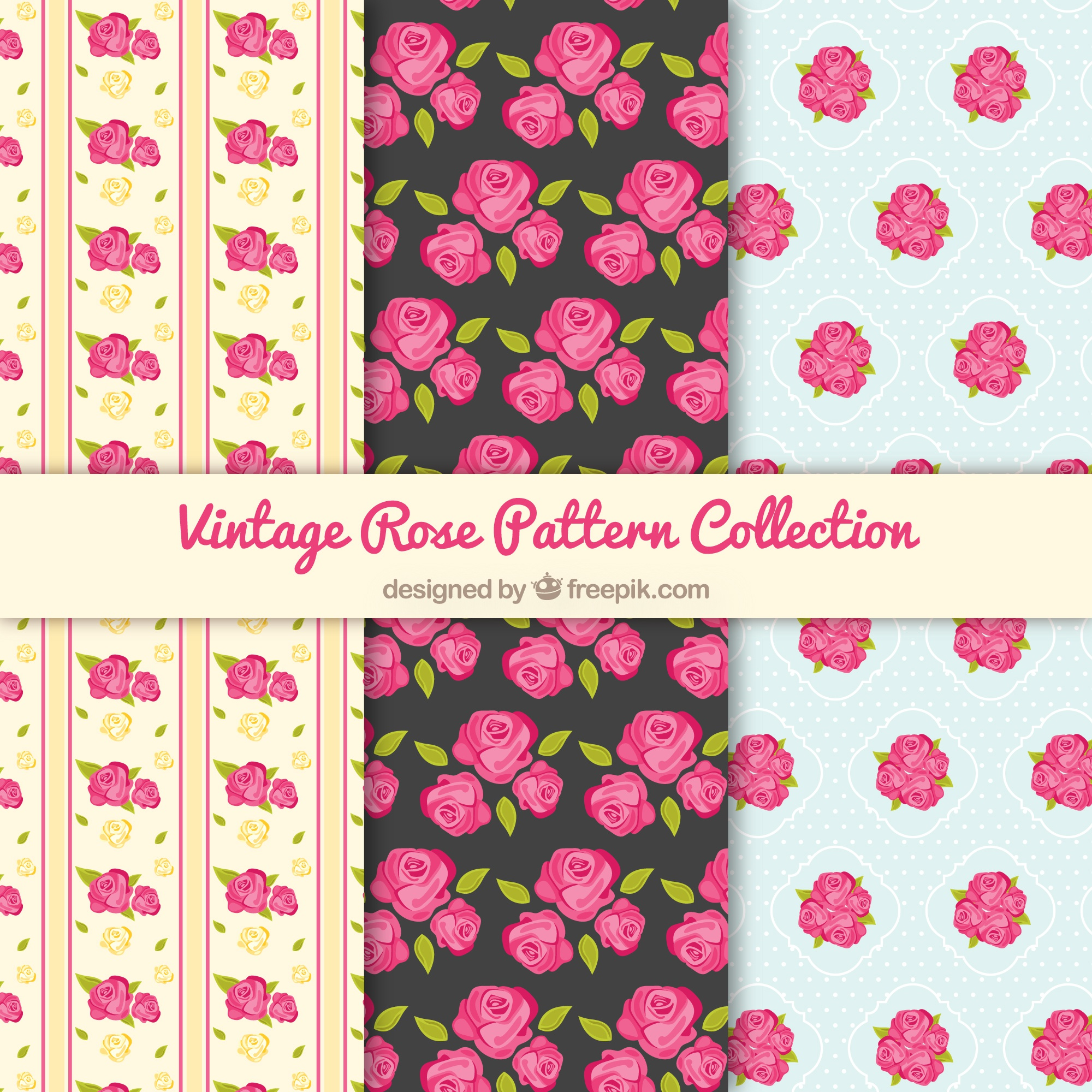 Vintage patterns with pink roses