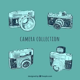 Vintage photo camera sketches set