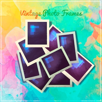 Vintage photo frames painted with watercolors