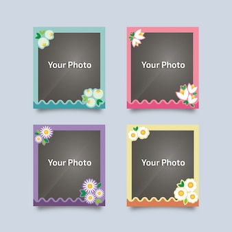 Vintage photo frames with flowers