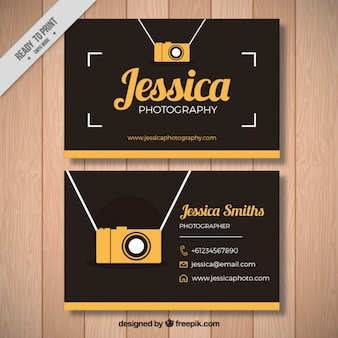 Vintage photography card with yellow camera