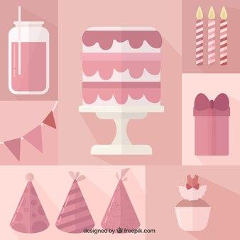 Vintage pink birthday elements set