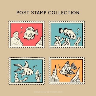 Vintage post stamps with fishes