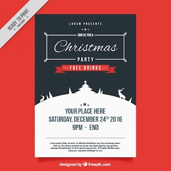 Vintage poster of christmas party