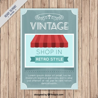 Vintage poster with a shop