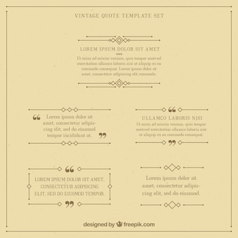 Vintage quote template set