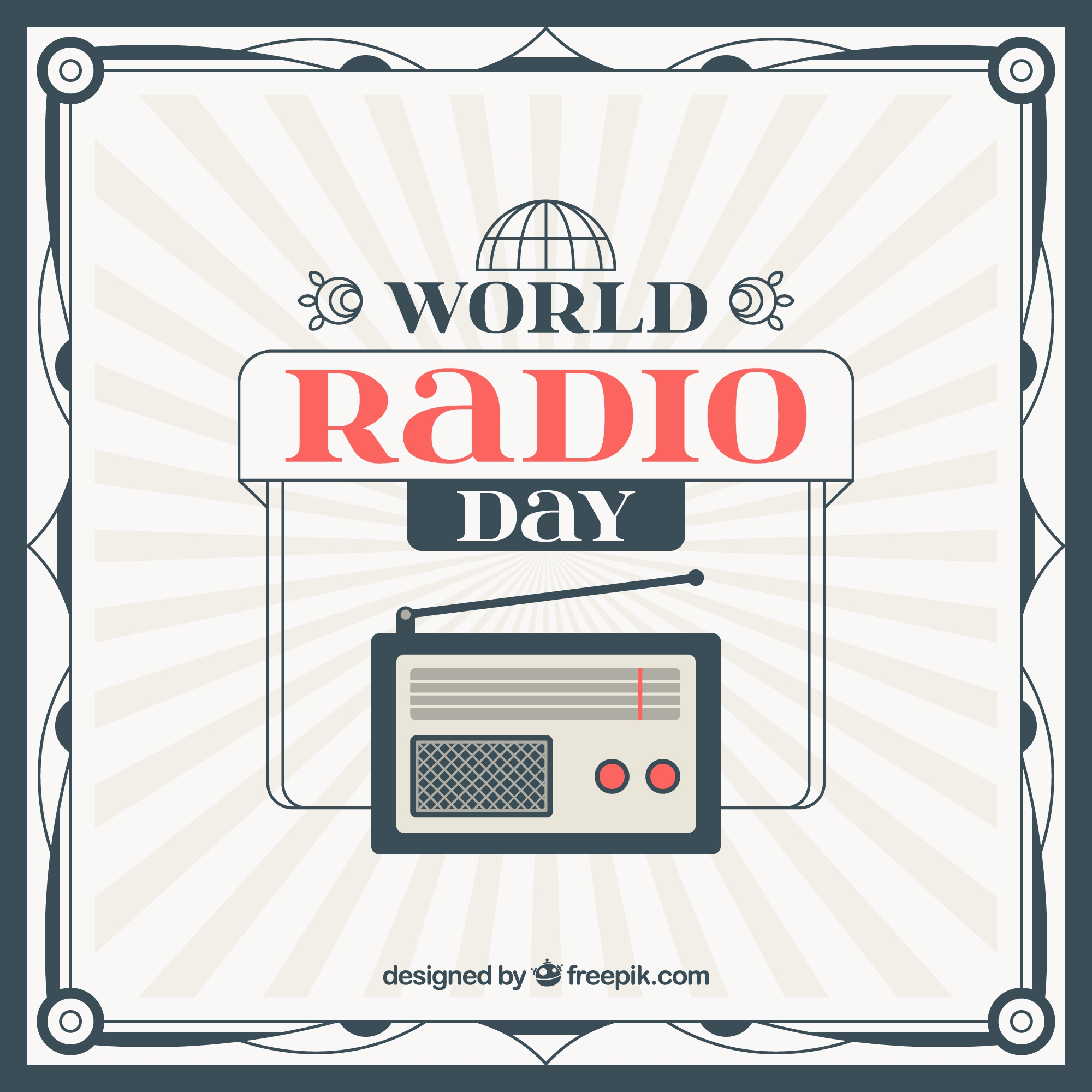 Vintage radio world day background in flat design