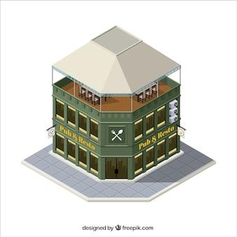 Vintage restaurant in isometric style
