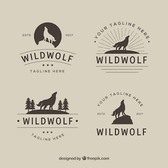 Vintage retro wolf logo collection