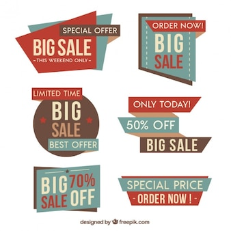 Vintage sale labels with irregular shapes