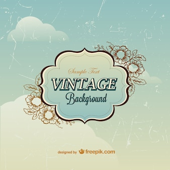 Vintage scratched floral background template