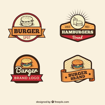 Vintage selection of burger logos