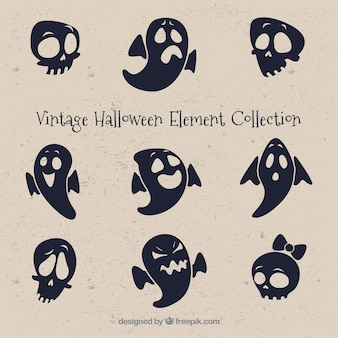 Vintage set of ghosts and skulls for halloween