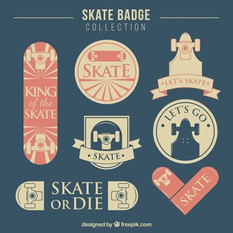 Vintage skate badges in pastel tones