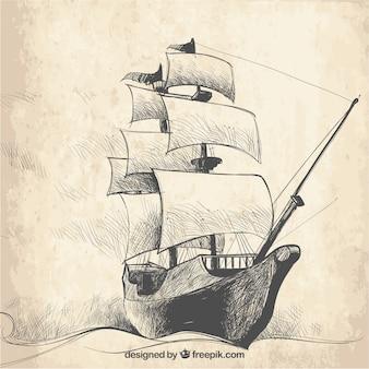 Vintage sketch of galleon background