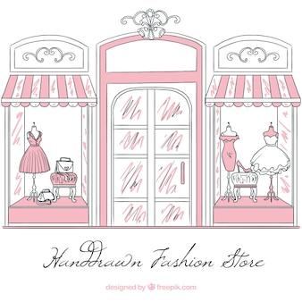 Vintage sketch shop window of fashion store