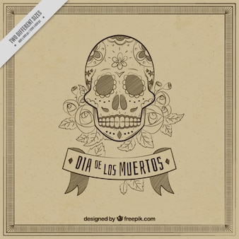 Vintage skull background for day of the dead