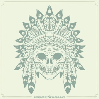 Vintage skull background with indian feather hat