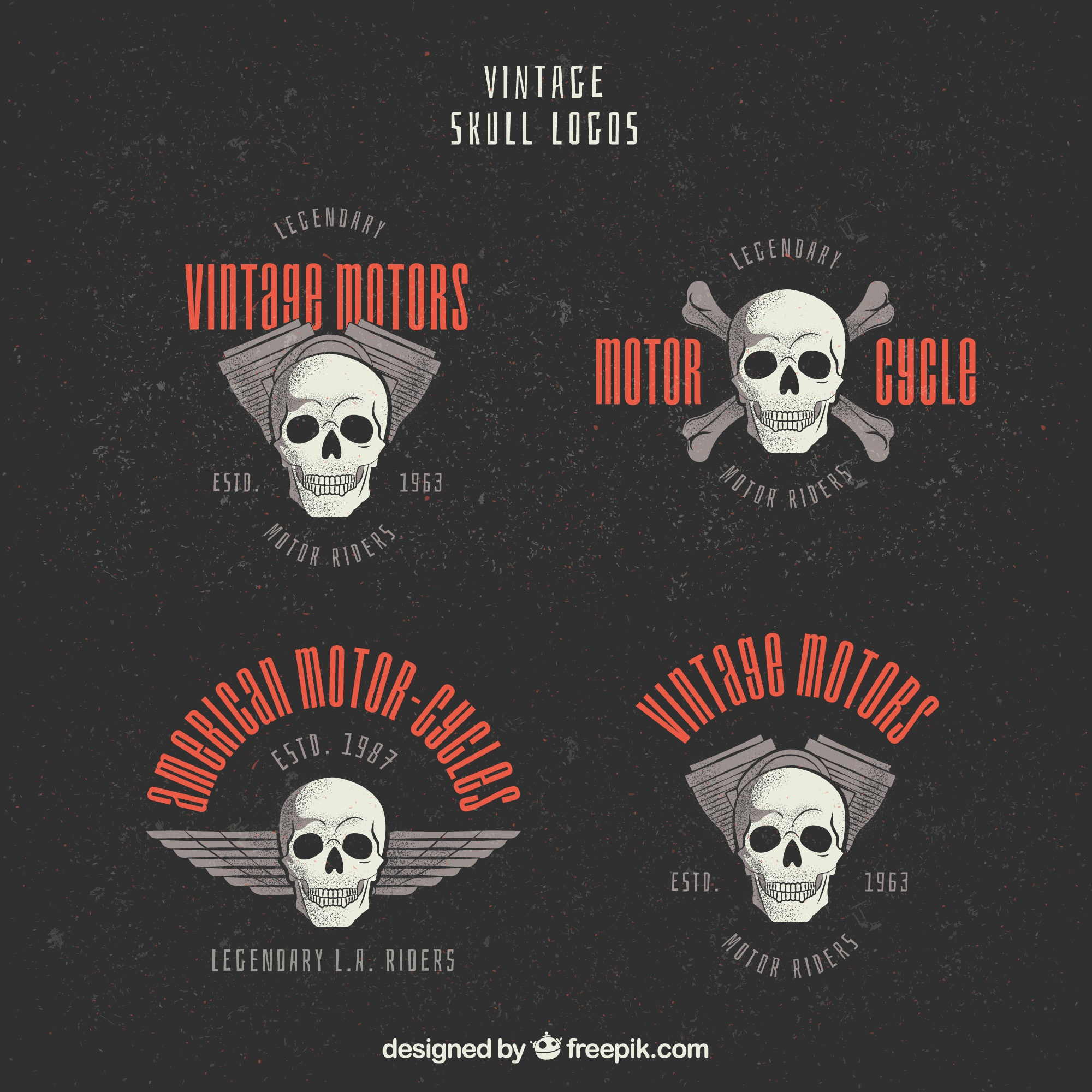 Vintage skull logos with red details