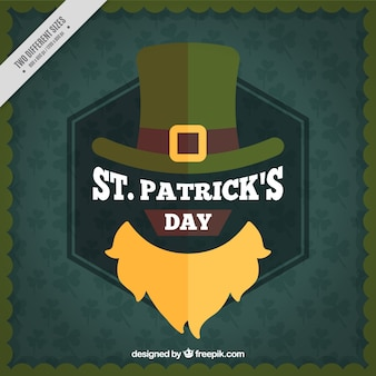 Vintage st patrick's day background with beard and hat