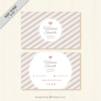 Vintage stripes wedding planner card