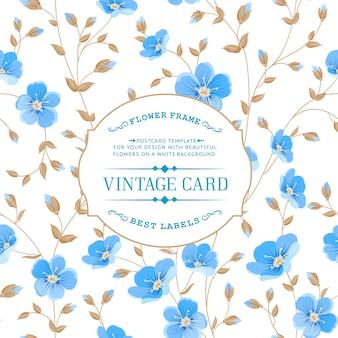 Vintage style blue floral background