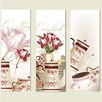 Vintage style coffee and flower banners