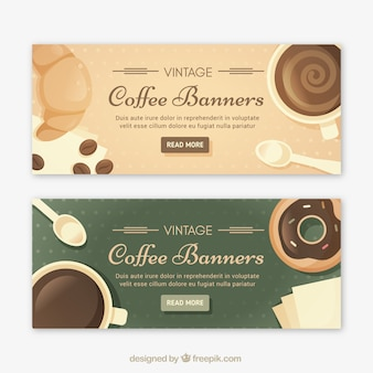 Vintage style coffee banners