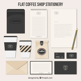 Vintage style coffee stationery set