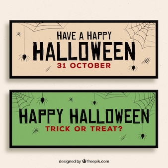 Vintage style halloween banners