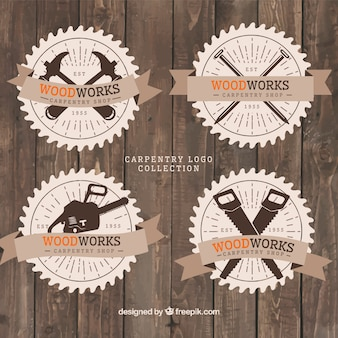 Vintage style logos for carpentry