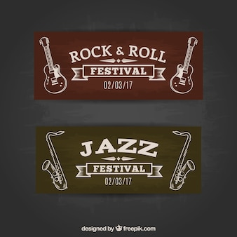 Vintage style rock and roll banners
