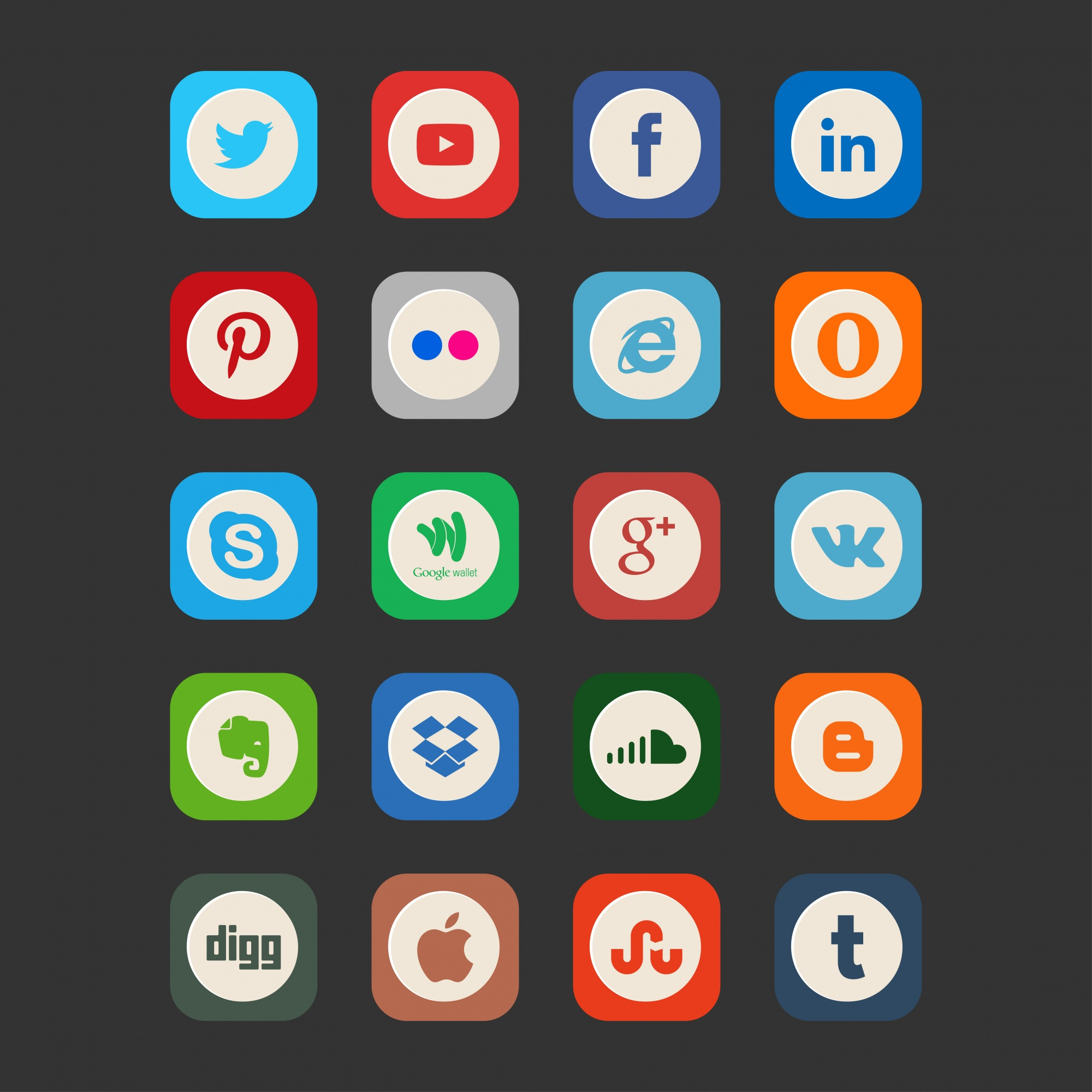 Vintage style social media icons