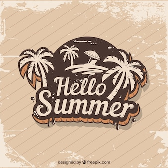 Vintage summer background with palm tree sticker