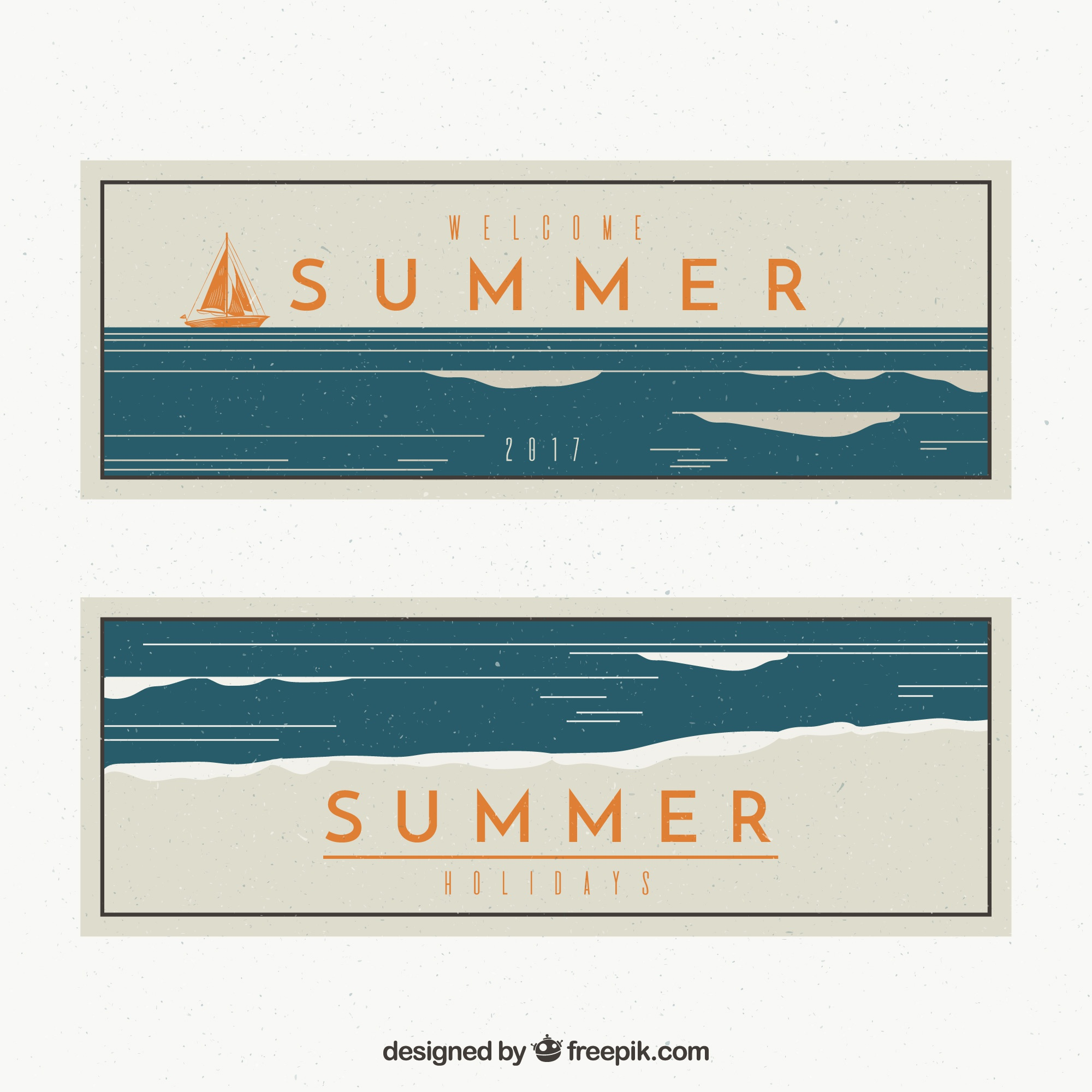 Vintage summer banners with boat