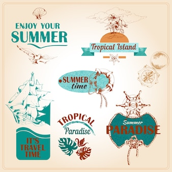 Vintage summer labels with color details