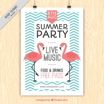Vintage summer party poster with flamingos and zig-zag lines